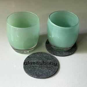 2 Green Glassybaby Votive Holders